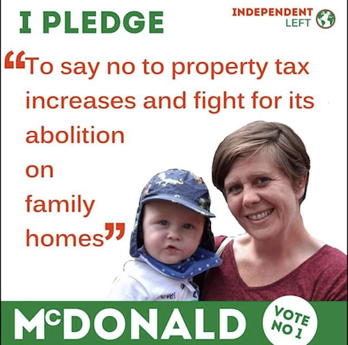 Niamh McDonald pledges to oppose property tax increases.