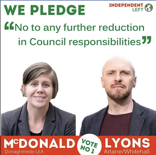 Niamh McDonald and John Lyons pledge to champion democracy in Council decisions.