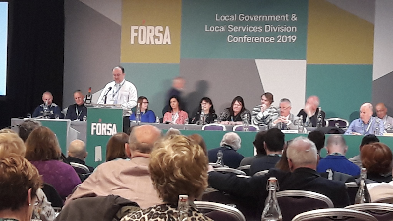 Seán Reid at Fórsa conference