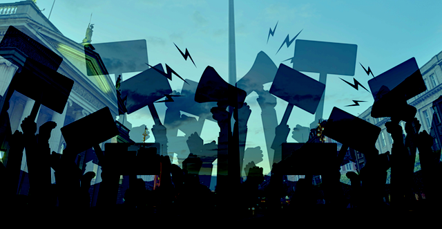 An Illustration of demonstration in front of the GPO and Spire. Black silhouettes in front of a blue background.