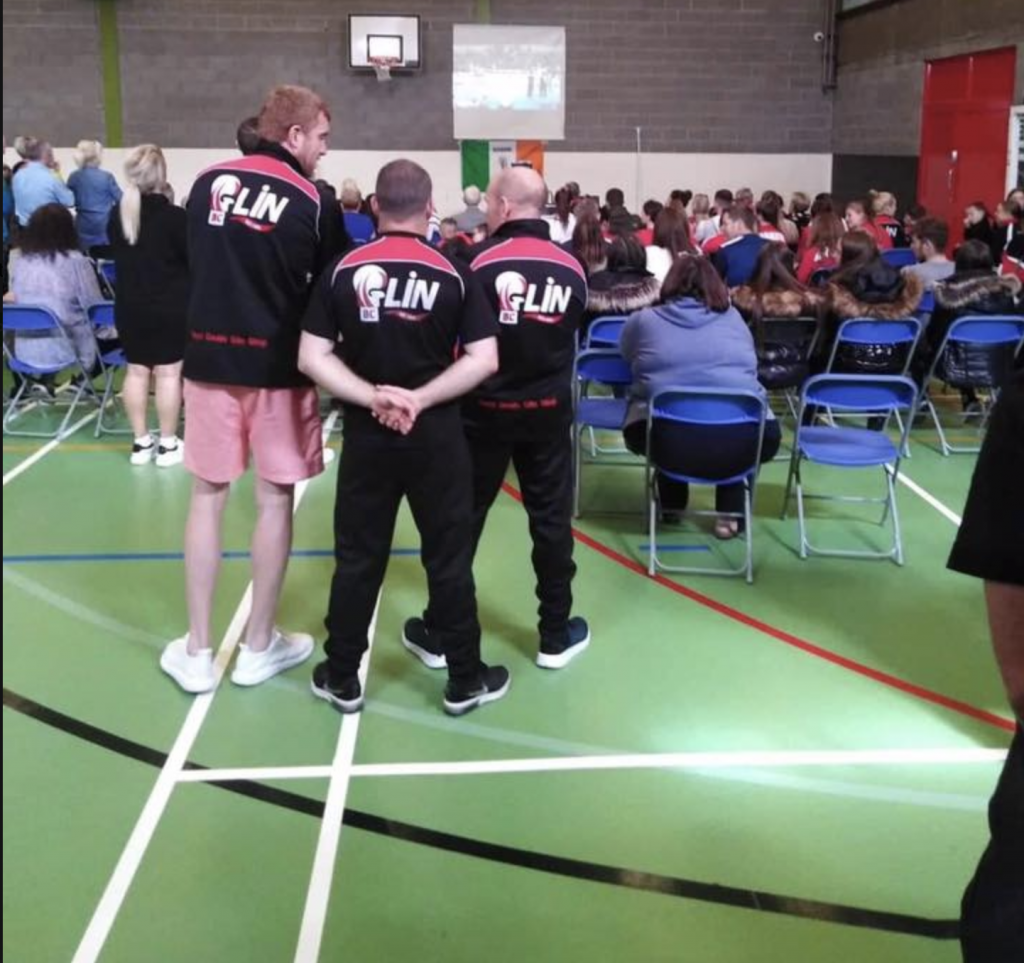 Glin Sports Centre during the European schools championship. Family and friends gather to watch to matches.