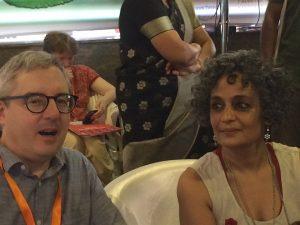 Conor Kostick sat beside Arundhati Roy.