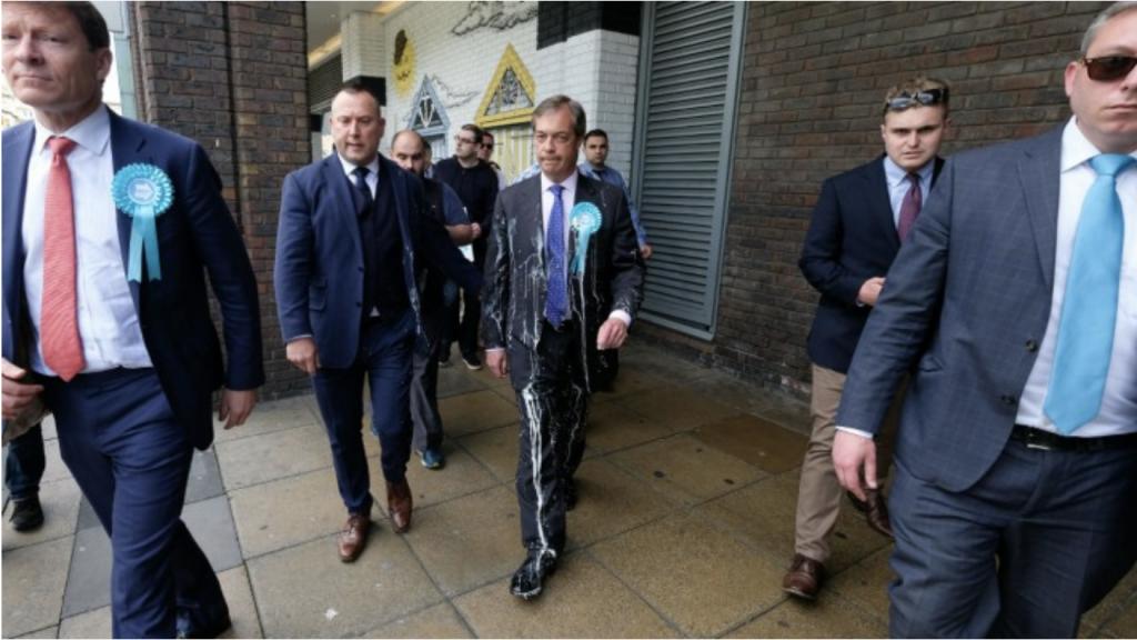 Nigel Farrage the man behind Brexit gets hit with milkshake