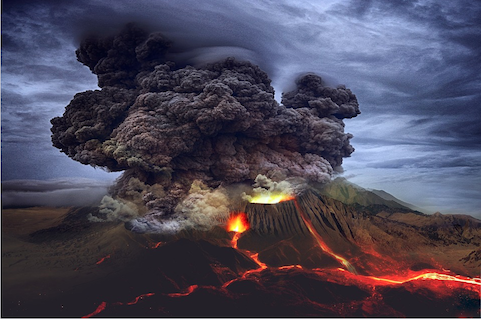 A vast cloud of smoke issues from an active volcano; streams of lava pour from the cone.