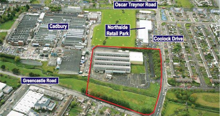 A satellite image of the area, marked in red, of the former Chivers factory, now earmarked for a high-rise development by Platinum Land Ltd. Nearby labels show the position of Greencastle Road, Coolock Drive, Northside Retail Park, Cadbury's and Oscar Traynor Road.