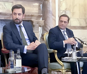 Minister for Housing Eoghan Murphy sitting on the right of RIchard Barrett, founder of Bartra Capital
