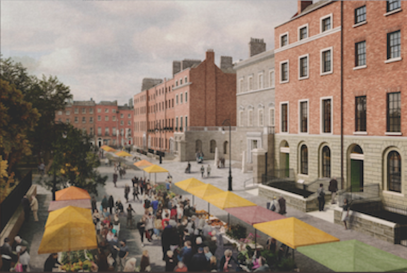 Painted illustration of the north side of Parnell Square, Hugh Lane at the centre with imagined colourful stalls along a pedestrianised street.