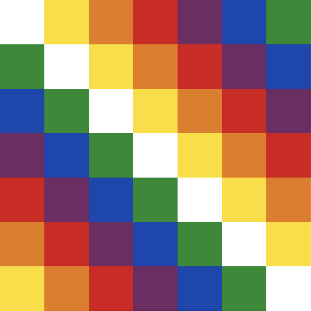 A square made out of coloured squares which run in diagonals: 1 yellow, bottom left; 2 orange; 3 red; 4 purple; 5 blue; 6 green; 7 white; 6 yellow; 5 orange; 4 red; 3 purple, 2 blue and 1 green, top right.
