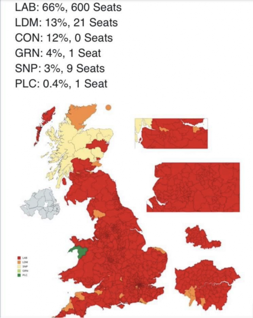 A map of the UK with constituency boundaries, which is nearly entirely red except for Scotland, mostly pale yellow, and a dot of green in Wales with some dots of orange. It illustrates the fact that if voters in the UK in 2019 had been limited to the 18 - 24 year old group, Labour would have won 600 seats.