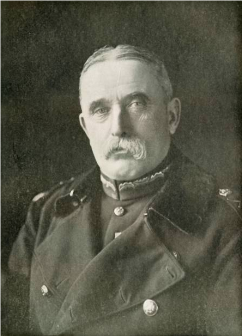 A portrait of Lord John French, Lord Lieutenant of Ireland in 1920. An elderly man with thick, white, dropping moustache, he looks at the camera with a serious expression. Upper body and head pictured. He is wearing a military jacket and overcoat.