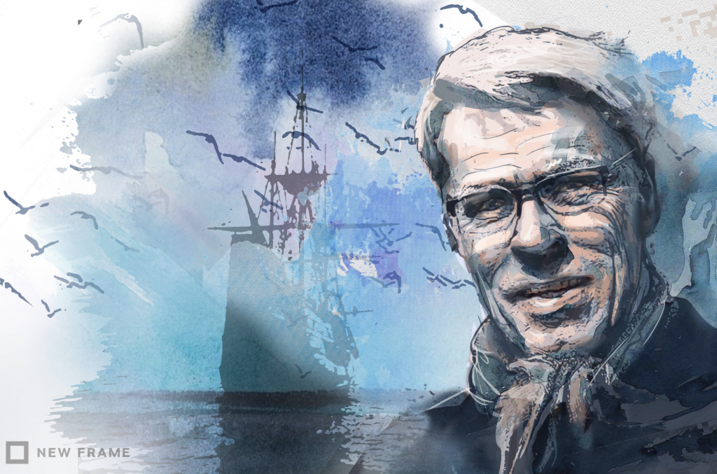 A blue-tinged watercolour shows an eighteenth century imperial warship on a calm sea. To the right of the frame, filling the height of it, is a portrait of Peter Linebaugh by Anastasya Eliseeva: he is wearing glasses, has a slight smile and wears a scarf.