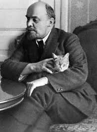 Lenin stroking a cat