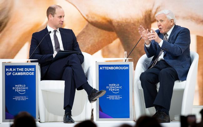 William Windsor and David Attenborough seated at the World Economic forum. Attenborough is on the right and is making a point with raised hands in an animated gesture. Windsor looks like he is trying to contain a smirk. There is a backdrop of some large brown animals and a foreground of the tops of the heads of the audience.