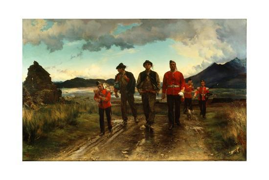 Lady Butler's painting 'Listed for the Connaught Rangers, recruiting in Ireland 1878', painted by Elizabeth Thompson, known as Lady Butler. A sombre road leading towards the viewer has two men in peasant clothes walking best a sergeant in the red uniform of the Connaught Rangers a boy, also in the red jacket uniform is just ahead of the new recruits carrying a heavy bad. Two more soldiers are further back on the road. The pale blue sky, mountains and clouds behind the figures are spectacular and there is an air of the men leaving beauty for something dark.