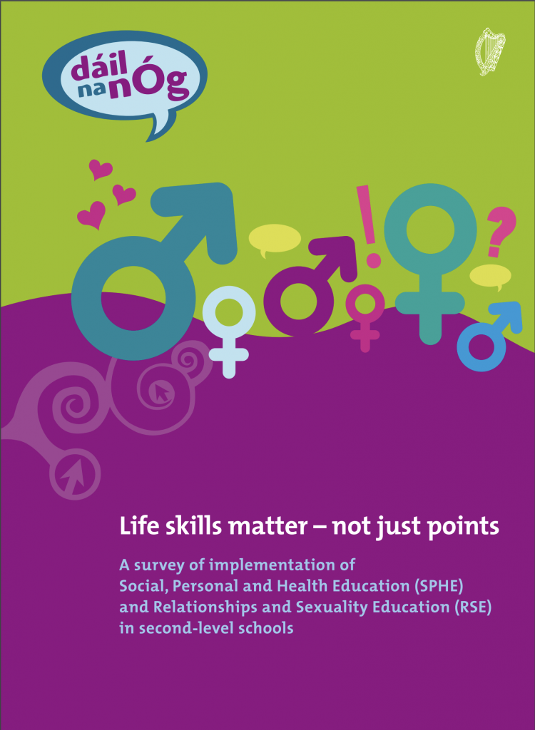 Life Skills Matter - Not Just Points: A survey of young people by Dáil na nÓg about Social, Personal and Health Education (SPHE) and Relationships and Sexuality Education (RSE) in post-primary schools. Purple and Green cover of report, with symbols for male, female and other genders suggested by ! and ? as well as hearts.