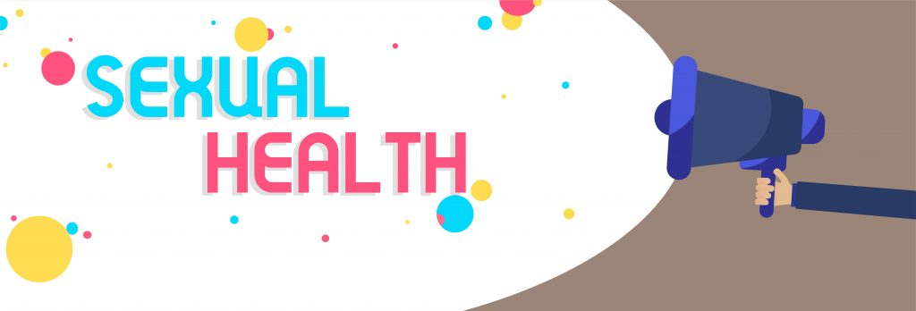 Sexual Health:  young people and children in Ireland today do not receive the most up-to-date and factual RSE, especially in Catholic schools. Cartoon image with hand holding a torch, shining a light on the words 'Sexual Health' and illuminating coloured circles: yellow, pink and light blue.