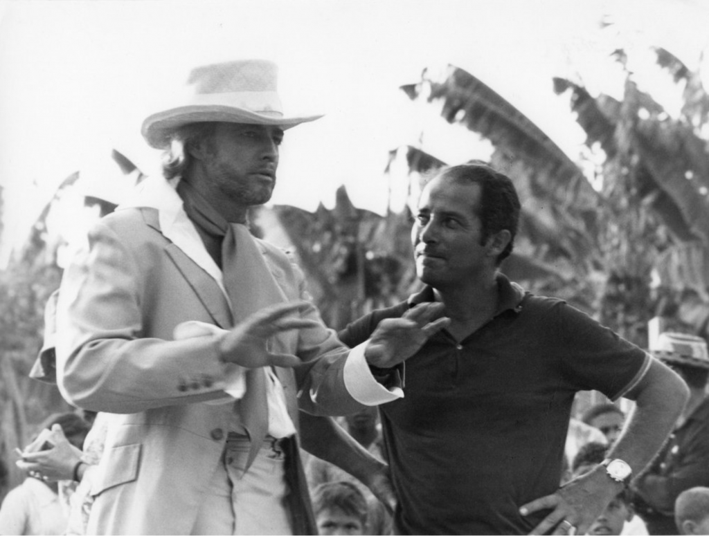 Brando and Gillo Pontecorvo on set Queimada