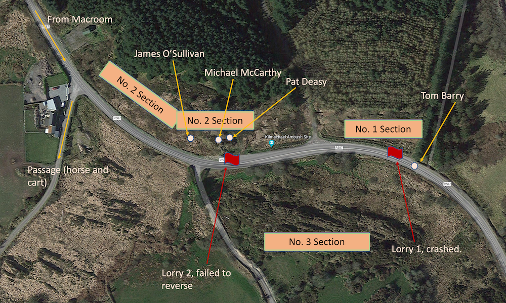 Map of IRA deployment at the Kilmichael Ambush
