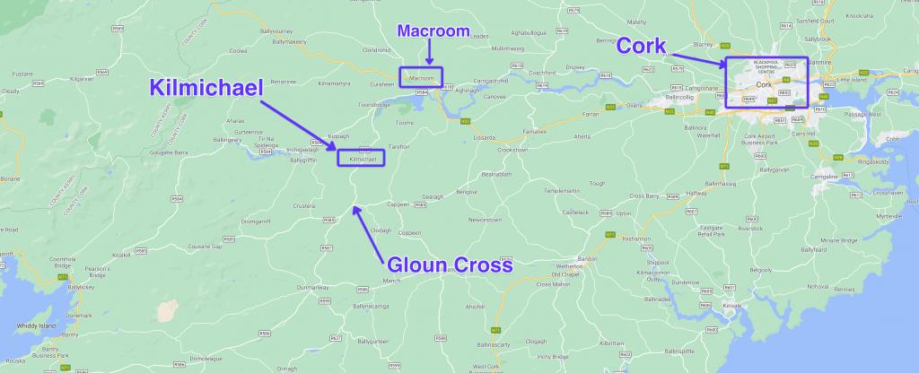 Location of the Kilmichael Ambush with respect to Cork