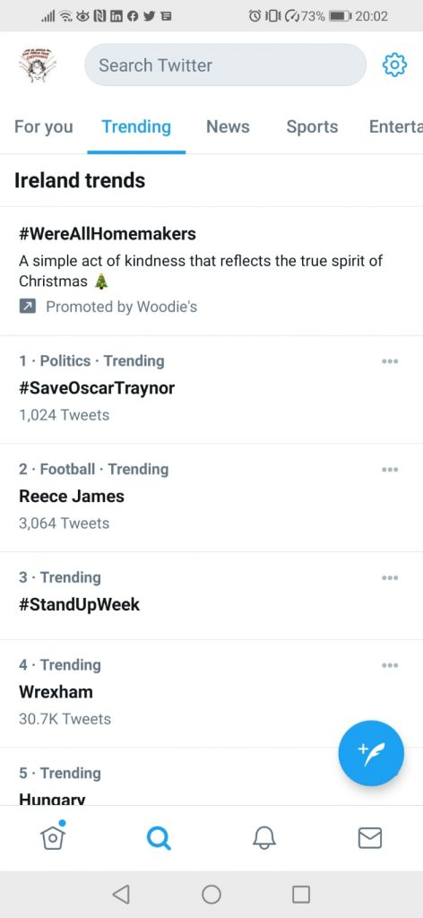 #SaveOscarTraynor trended as number 1 on Twitter for Irish political news 16 November