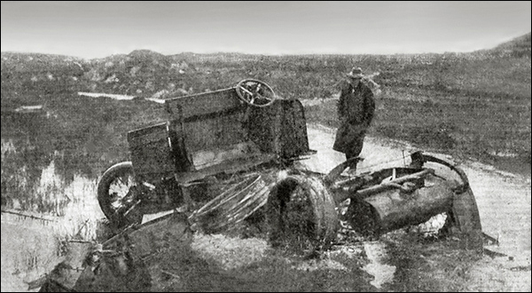 A burned out lorry after the Kilmichael Ambush