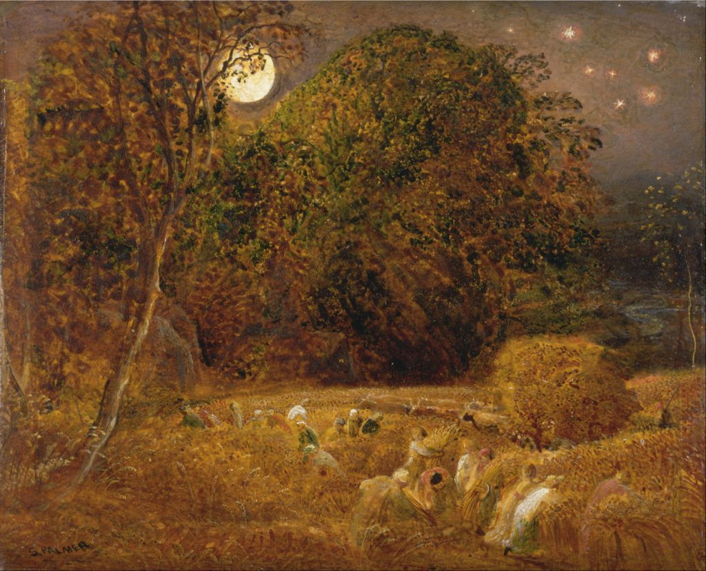 Poet John Clare was attentive to the lives of the commoners such as those working under the harvest moon. Painting by Samuel Palmer.